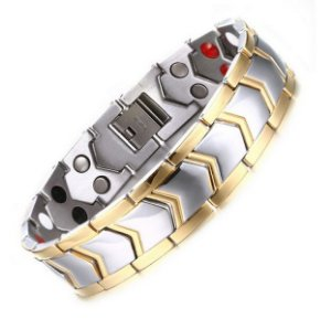 Pulseira Jr Men em titânio magnética antistress gold
