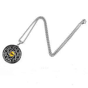 Colar corrente Símbolo Viking estrela de 6 pontas e olho amarelo