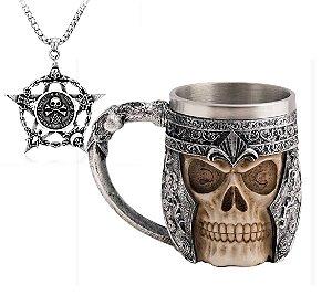 Kit Colar Pentagrama com Caveira Skull + Caneca Viking
