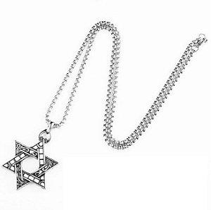 Colar corrente em aço Estrela de Davi cor prata