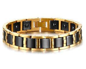 Pulseira Masculina Magnético Banhada a Ouro e Aço Titânio