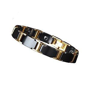 Pulseira Masculina Bracelete Magnético Aço Titânio banhada a ouro