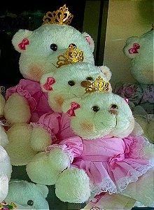 Kit com 3 Ursos de Pelúcia Princesa para Nicho