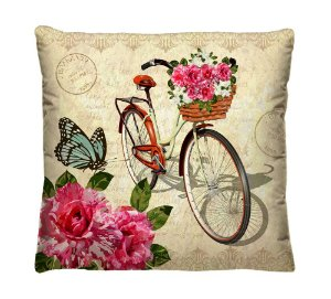 Capa de Almofada Decorativa Florais Bicicleta Vintage