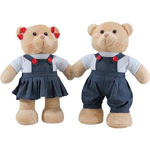 Urso e Ursa Colegial em pé de Pelúcia