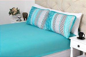 Jogo de cama Lençol em Malha e Porta Travesseiro