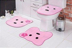Jogo de Banheiro Infantil Ursa Rosa