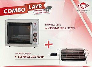 Forno Elétrico Crystal Inox (220V) + Churrasqueira Elétrica Diet (220V)