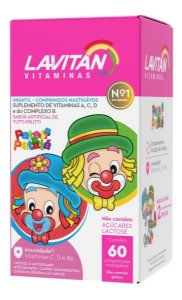 Lavitan Kids Tutti-Frutti com 60 Comprimidos Mastigáveis
