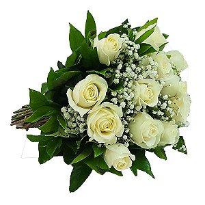Buquê Clássico 12 Rosas Brancas