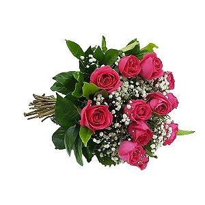 Buquê Clássico 12 Rosas Pink