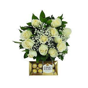 Buquê Clássico 12 Rosas Brancas com Ferrero Rocher