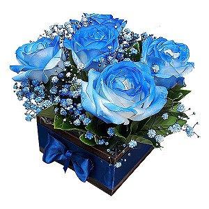Arranjo 5 Rosas Azuis ou 5 Rosas em outros Tons