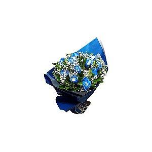 Buquê Clássico 12 Rosas Azuis