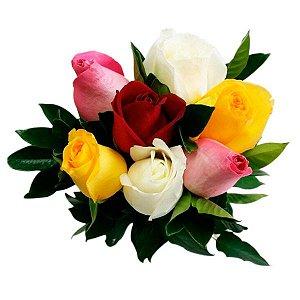 Buquê de 6 Rosas Coloridas