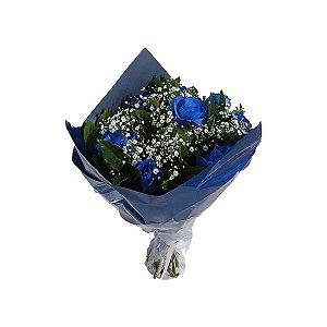 Buquê Clássico de Rosas Azuis - 6 Unidades