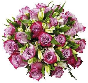 Buquê Especial Rosas Lilás - 24 Unidades