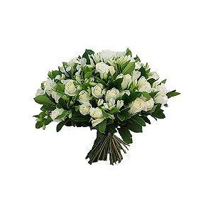 Buquê Especial 40 Rosas Brancas