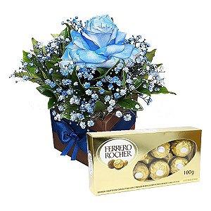 Arranjo Rosa Azul com Ferrero Rocher