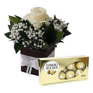 Arranjo Rosa Branca com Ferrero Rocher