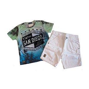 Conj T-Shirt e Bermuda em Sarja Bros