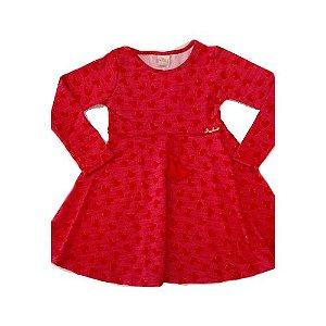 Vestido Malha Vermelho com Corações
