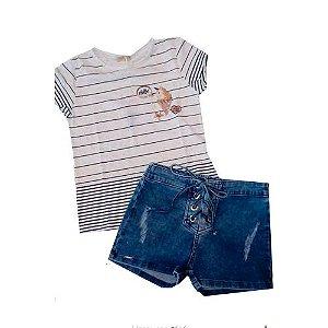 Conjunto T shirt e Short Jeans