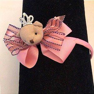 Tiara de Laço com Urso Rosa