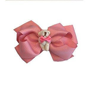 Broche de Laço com Urso Rosé