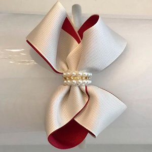Tiara de Laço Marfim/Bordô