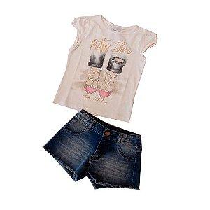 Conjunto Blusa com Short Jeans