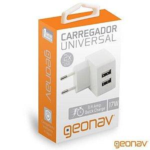Carregador universal 2x USB geonav 17w