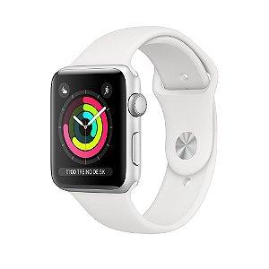 Apple Watch Caixa prateada de alumínio com pulseira esportiva branca series 3