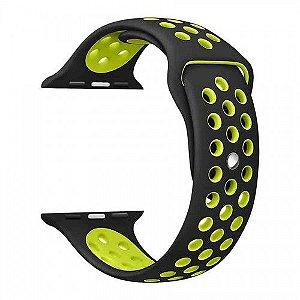 Pulseira para Apple Watch Sport em Silicone Preta com Verde