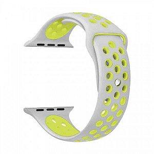 Pulseira para Apple Watch Sport em Silicone Cinza com Verde