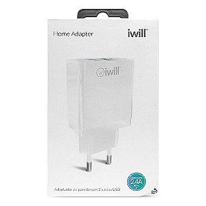 Carregador de Parede iWill, 2 USB, Branco