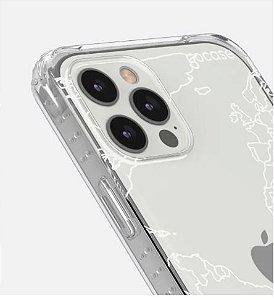 Capinha Impact Slim - Mapa Mundi Lines White - iPhone 12/12PRO