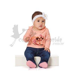 Blusinha Manga Longa Bebê Menina Dog Fashion Kiko Baby