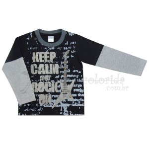 Camiseta Manga Longa Infantil Menino Keep Calm and Rock On
