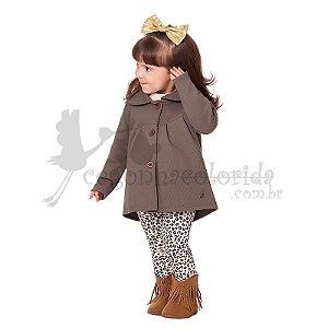 Conjunto Manga Longa Infantil Menina com Calça Animal Print