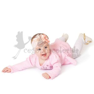 Body Saia Manga Longa Bebê Menina Princesinha Kiko Baby