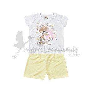 Pijama Manga Curta Infantil Menina Listrado Love Dreams
