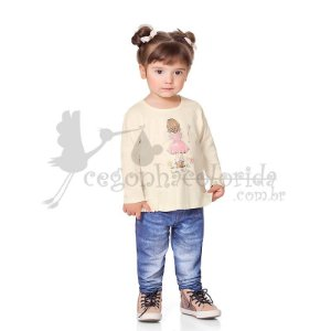Calça Legging Infantil Menina em Molecotton Jeans Kiko & Kika