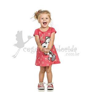 Vestido Manga Curta infantil Menina Belle & Snoopy