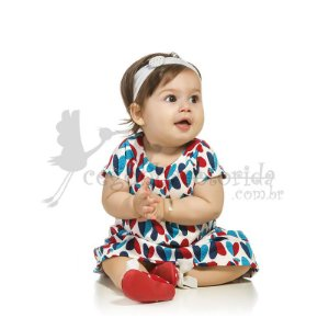 Vestido Manga Curta Bebê Menina Corações