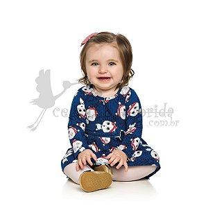 Vestido Manga Longa Bebê Ursinha Elian