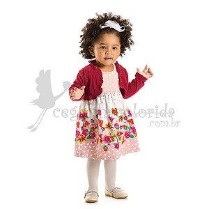 Vestido Infantil Regata com Bolero em Plush Jacquard Kaiani