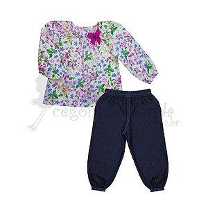 Conjunto Longo Bebê Menina Floral com Jeans