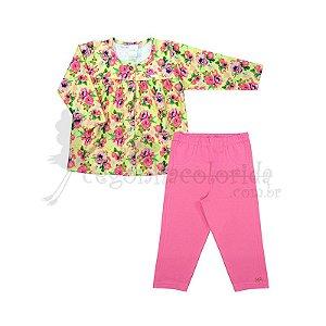 Conjunto Longo Bebê Menina em Molecotton Floral