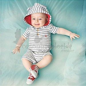 Macacão Bebê Menino Listradinho com Touca de Orelhinhas